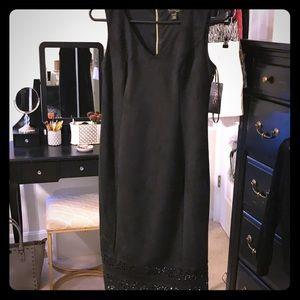 NWT Thalia  Women's Suede Black Dress